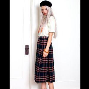 VTG LL BEAN Wool Pleated Tartan Plaid MIDI Skirt 4